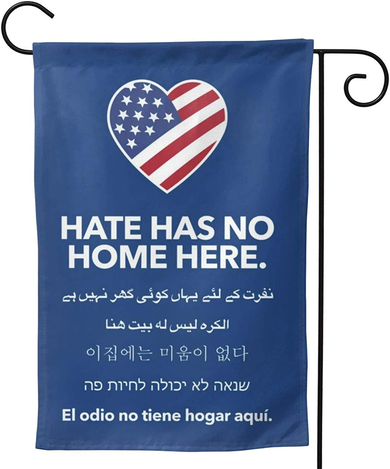 Season Garden Flags -Hate Has No Home Here Garden Flags - Double Sided Outdoor Holidays Yard Flags - Made of Polyester with Anti- ¨C Holidays Flags for 12 Months - 12.5¡±x18¡± Size