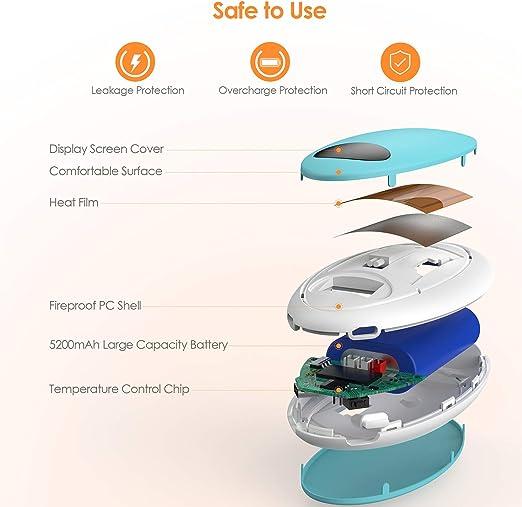 ajustable 10000 mAh grande 3 niveles de calor color negro pantalla digital Power Bank//Vibraci/ón recargable TLICLXY masaje para el invierno reutilizable Calentador de manos calientes