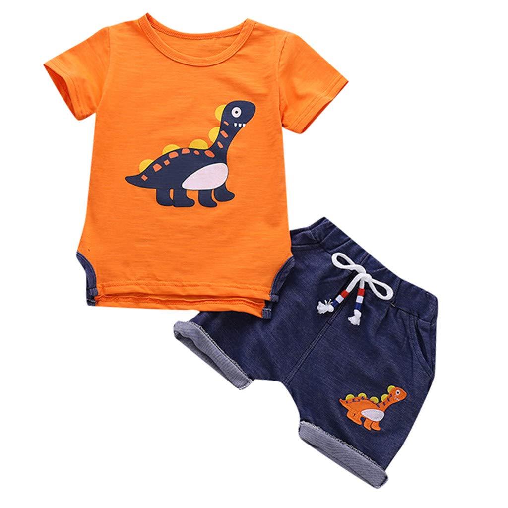 Baby Boys Tee Outfits Set, Kids Short Sleeve Dinosaur Cartoon T Shirt Tops Shorts Suit Clothes Set 6M-3Y (6-12 Months, Orange)