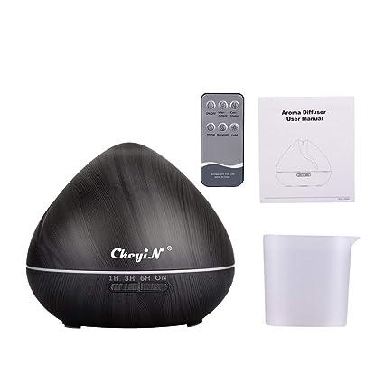 550ml Difusor de Aromaterapia,7 Agujeros Difusor de Aceite Esencial/Humidificador Ultrasónico-7 Colores+3 Temporizador-Para la Habitación del ...