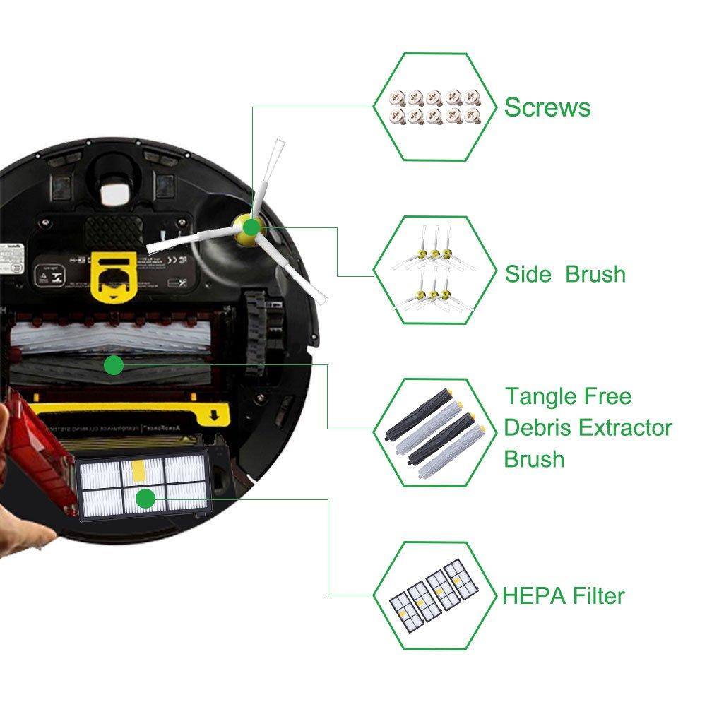 Kit de Accesorios para iRobot Roomba Recambios Roomba Series 800 805 850 860 865 866 870 871 880 886 890 891 895 896 900 960 965 966 980 para Robot Aspirador de ABC life, 24in1