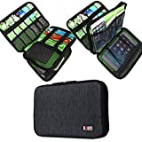 BUBM Universal Cable Organizer Electronics Accessories Case Various USB, Phone, Charger, Cable organizer Travel Organizer Cosmetic Bag- Double Layer Black