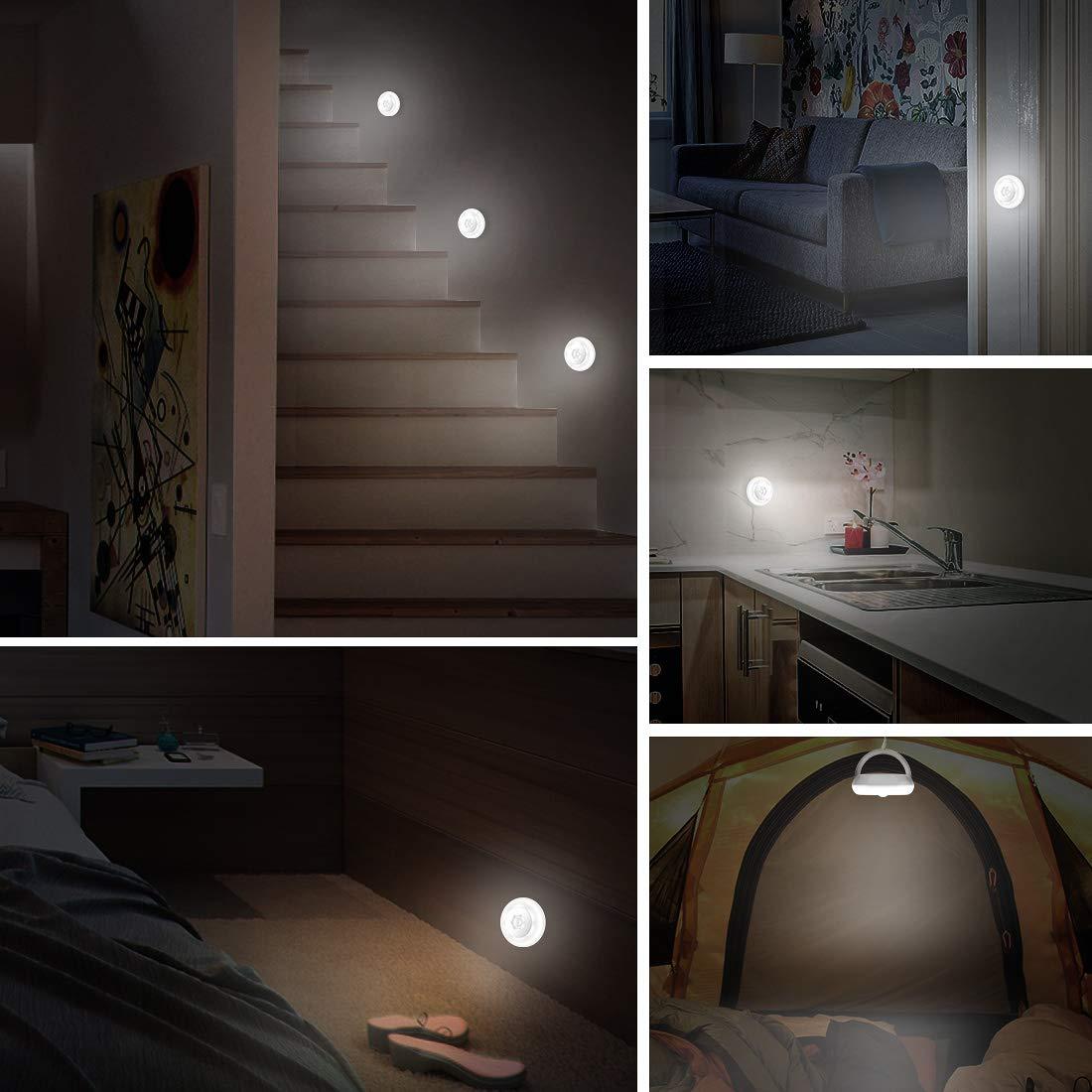 TAOCOCO Motion Sensor Night Light, Battery-Powered LED Night Lights for Kids Baby, Magnet Stick-on Stick-Anywhere Closet Light for Stair, Kitchen, Bathroom, Bedroom, Bar (2 Pack, White)