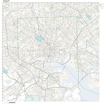 Amazoncom ZIP Code Wall Map of Baltimore MD ZIP Code Map