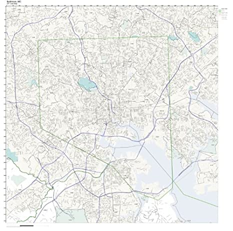 ZIP Code Wall Map of Baltimore, MD ZIP Code Map Not Laminated