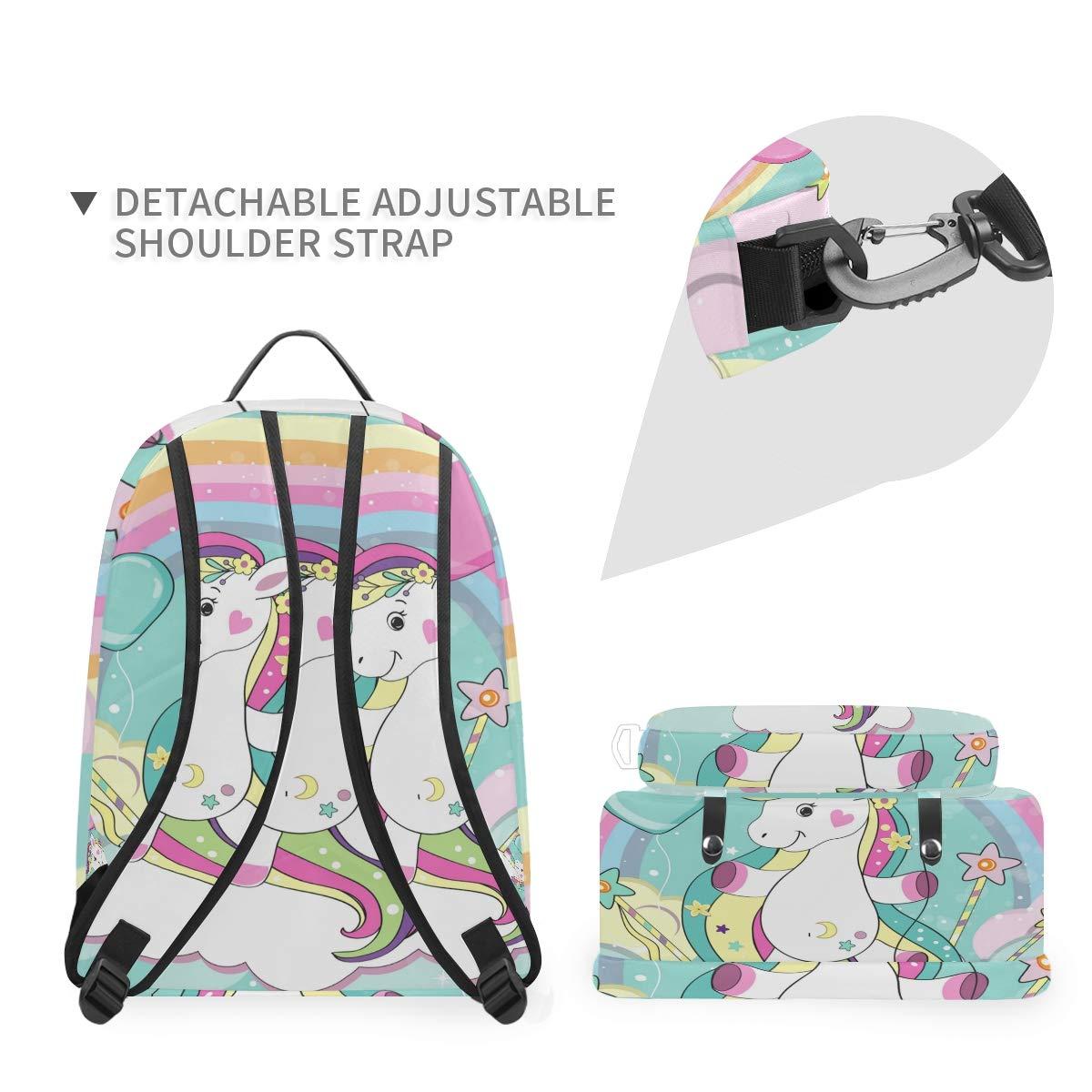 Rainbow Unicorn Shoulder Backpack Messenger Crossbody Laptop Bag Student Bookbags for Kid Girls Boys