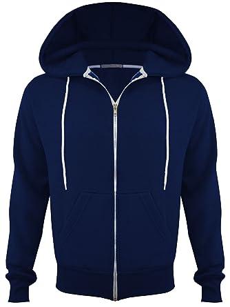 0bbb980e852c Mens Fleece Plus Big Size Hooded Sweatshirt Hoodie Top Jacket Zip Hoody  Jumper Plain Up Zipper Navy Blue UK Size L  Amazon.co.uk  Clothing