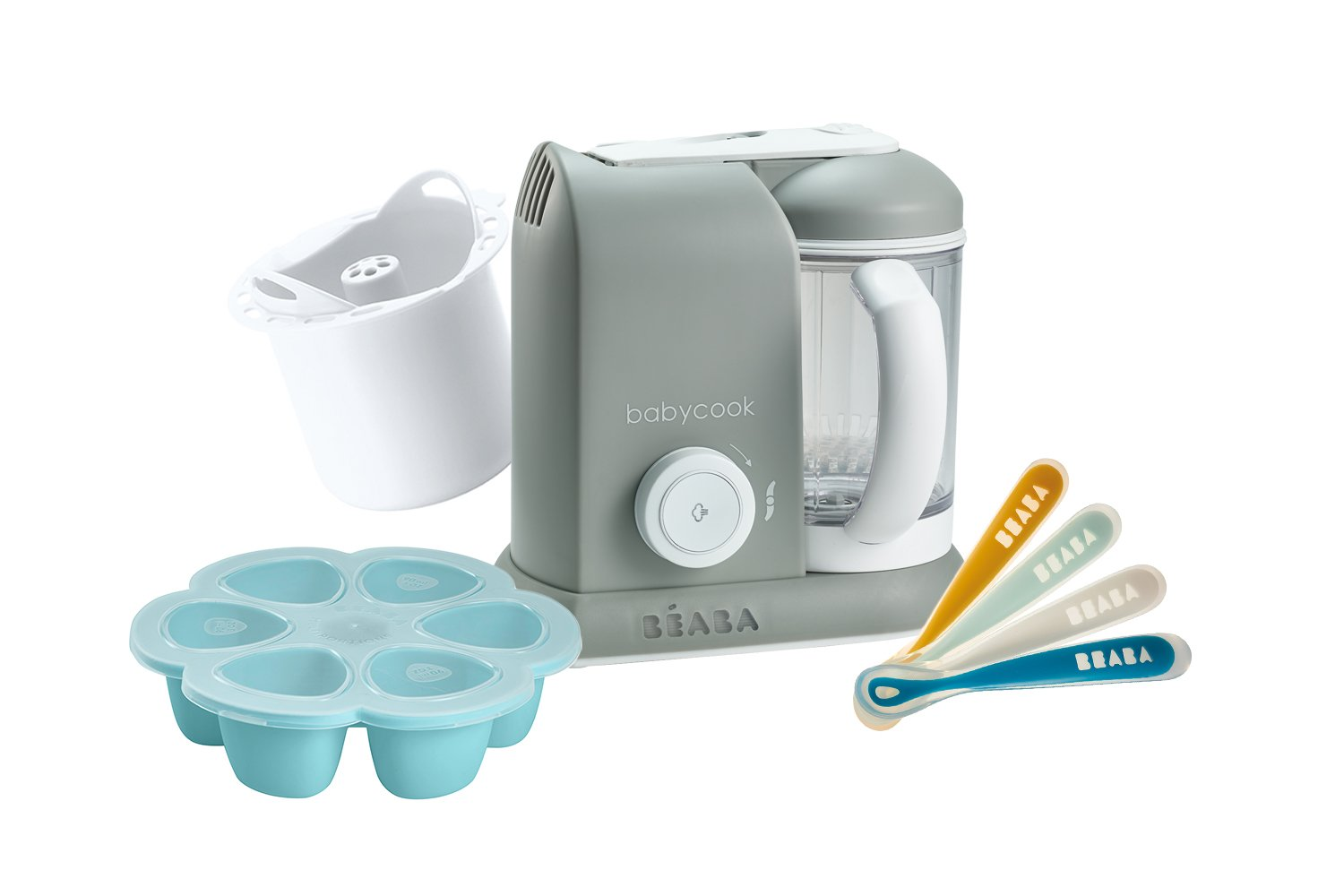 BEABA 1st Stage Feeding Gift Set, Includes Babycook, Silicone Spoons, Silicone Food Storage Tray, Grain Insert, Cloud