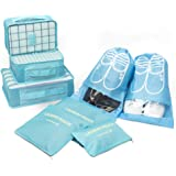 Packing Cubes -8 Sets Luggage Organiser for Travel Storage Bags Suitcase Compression Pouches(Blue)