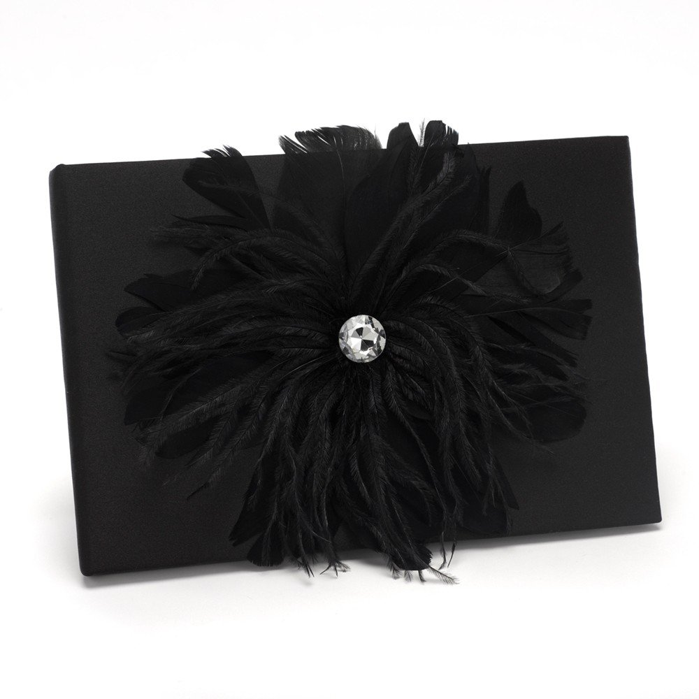 Jewelry Best Seller Black Feathered Flair Guest Book
