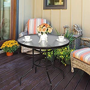 """Cloud Mountain 32"""" Outdoor Dining Table Patio Tempered Glass Table Patio Bistro Table Top Umbrella Stand Round Table Deck Garden Home Furniture Table, Dark Chocolate"""