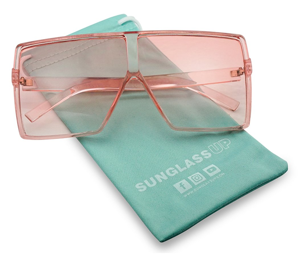 SunglassUP Oversized Festival Candy Colored Tone Square Crystal Frame Sunglasses (Pink Frame | Pink)