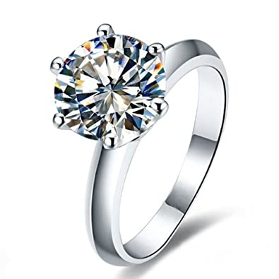 353fc89e5 Erllo 2 Ct CZ Solitaire Engagement Ring Sterling Silver Cubic Zirconia  White Gold Plated Size 4