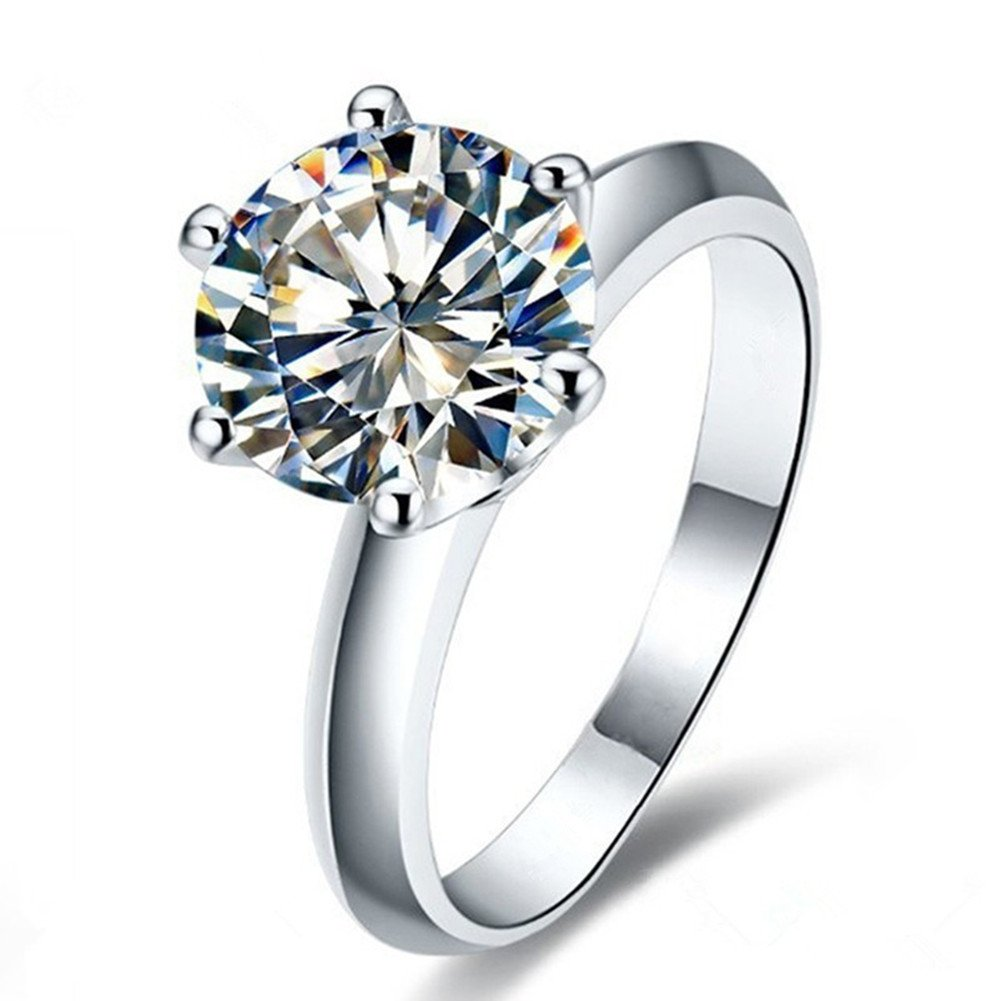 Erllo 2 Ct CZ Solitaire Engagement Ring Sterling Silver Cubic Zirconia White Gold Plated Size 4-10 Anniversary Rings (6)