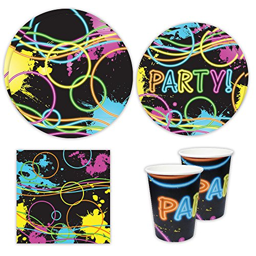 Glow Party Standard Party Packs (65+ Pieces for 16 Guests!), Glow Party Supplies, Black Light Supplies, LED Decorations, Tableware