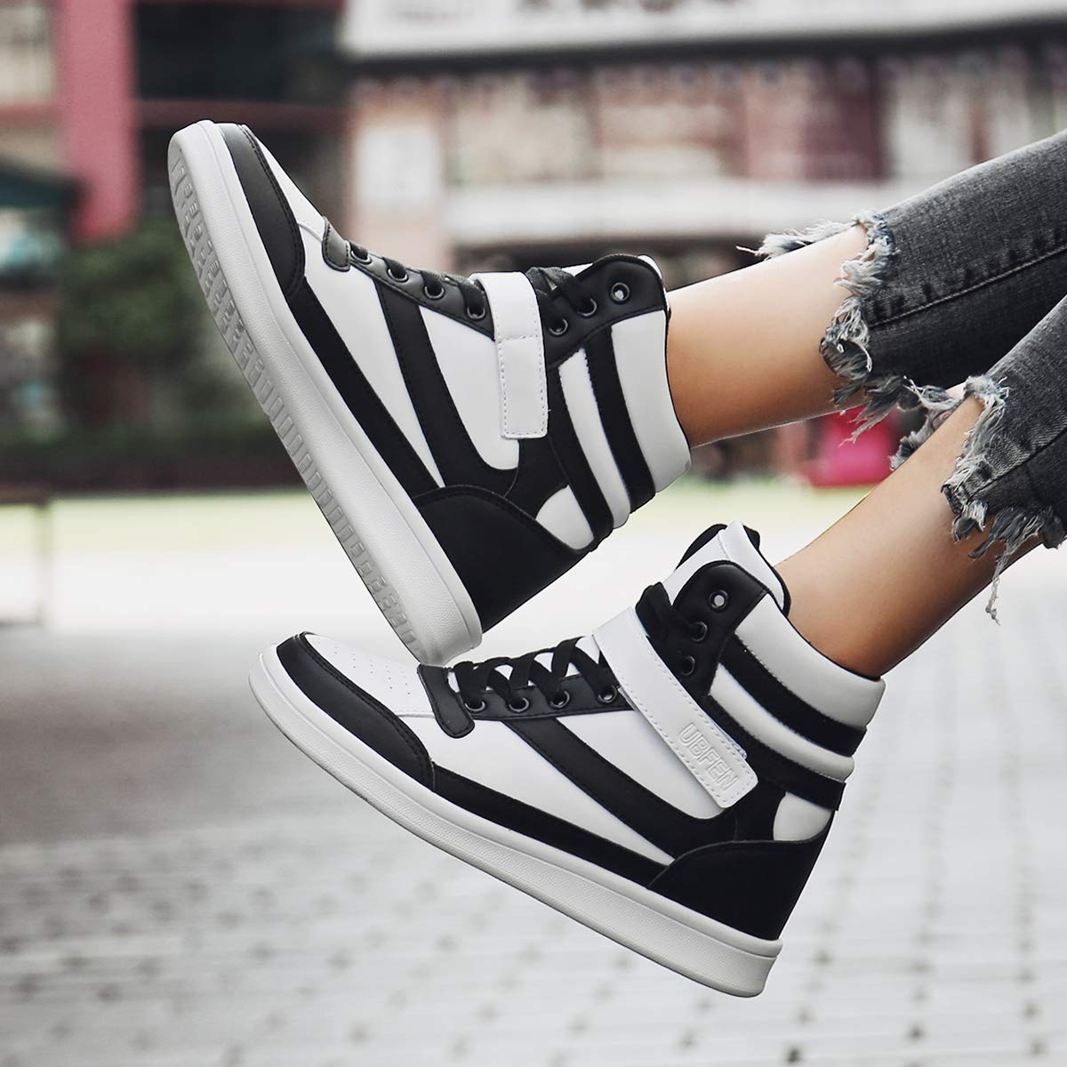 c161543a8e59 UBFEN Women s Shoes Hidden Wedge Heel 5.5cm Fashion Sneakers Trainers  Sports Booties Ankle Boots High larger image