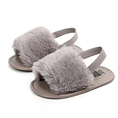 AutumnFall Newborn Infant Baby Boys Girls Letter Flock Soft Sandals Slipper Casual Shoes First Walkers (Age:3-6M, Gray): Office Products