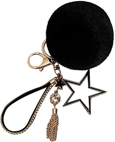 Gold Horse Head Black Rhinestone Crystal Key Ring Chain Handbag Charm 882