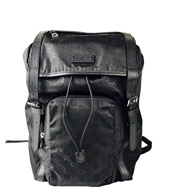 d8bee343f2a653 Amazon.com: Gucci Men's Backpack Black GG Nylon Drawstring With Leather  Trim 510336 1000: Clothing