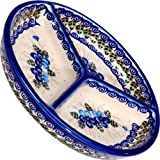 Polish Pottery Ceramika Boleslawiec,  0727/162, Mercedes Divided Platter, 10 3/4 Inches in Diameter, Royal Blue Patterns with Blue Pansy Flower Motif