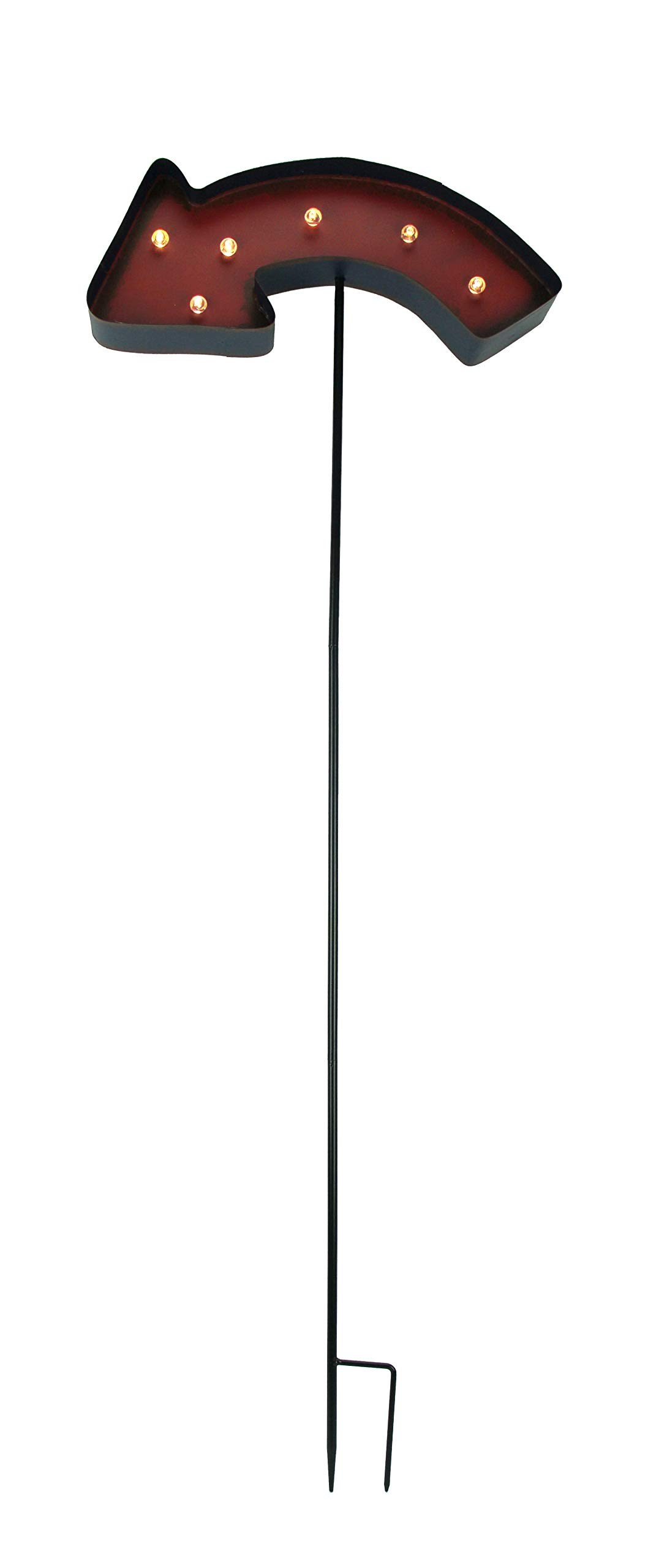 Exhart Metal Garden Stakes Led Lighted Directional Arrow Garden Stake 16 X 43.5 X 2.25 Inches Red