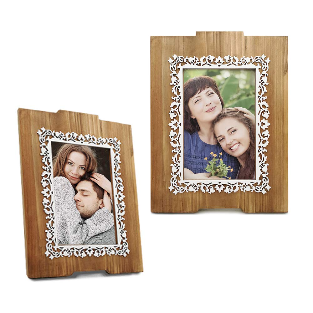 Eosglac Wooden 4x6 Picture Frame with White Flower Pattern Photo Frame Tabletop or Wall Display Mothers Gifts