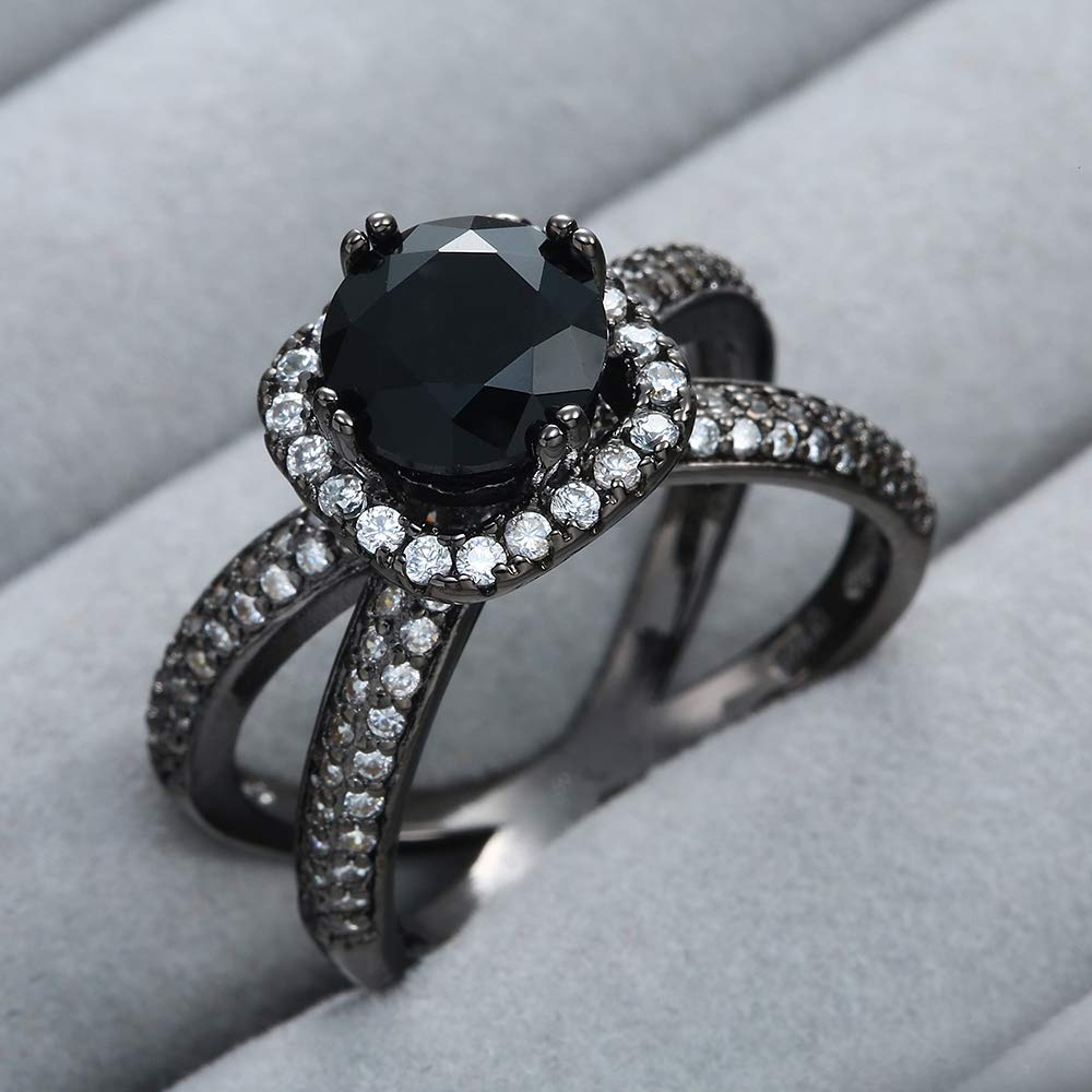 Xiang Ru 18K Stainless Steel Black Cross Cubic Zirconia Cocktail Party Rings