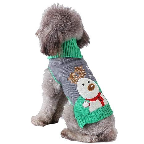 JEELINBORE Xmas Ropa para Perros Suéter Suave para Mascotas para Perros Pequeños Reno Disfraz de Navidad