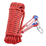 Professional Outdoor Rock Climbing Static Safety Rope, Diameter 12 mm, 12KN High Strength Accessory Cord Climbing Equipment Rope with 2 Hooks for Hiking, Mountaineering