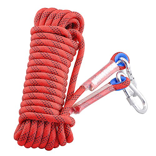 Syiswei Professional Outdoor Rock Climbing Safety Rope, Diameter 12mm, 12KN Pull High Strength Accessory Cord Climbing Equipment Rope for Hiking, Mountaineering(Red, 10m(32ft))