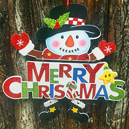 Christmas Decorations Welcome Snowman Santa Claus Door Hanging Party Ornaments Christmas Decorations Paper Welcome Door Hanging Window Decoration Ornaments white cardboard foam board powder (Christmas Homemade Cardboard Village)