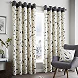 Beechwood Leaf Charcoal Grey Fully Lined Eyelet Grommet Top Curtains > 66″ Wide x 90″ Drop For Sale
