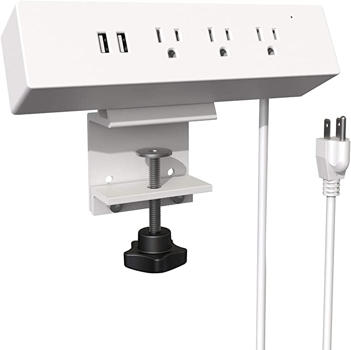 YFF UL Desk Clamp Power Strip with 3 Outlets and 2 USB Charger,6Ft Extension Cord for Furniture Electronic Office Equipment Appliances Charging,White
