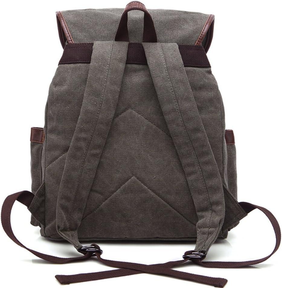 LHQ-Camera Bag Durable Backpack Daypack Waterproof Drawstring Vintage Canvas Climbing Outdoor Camera Bag Color : Dark Gray