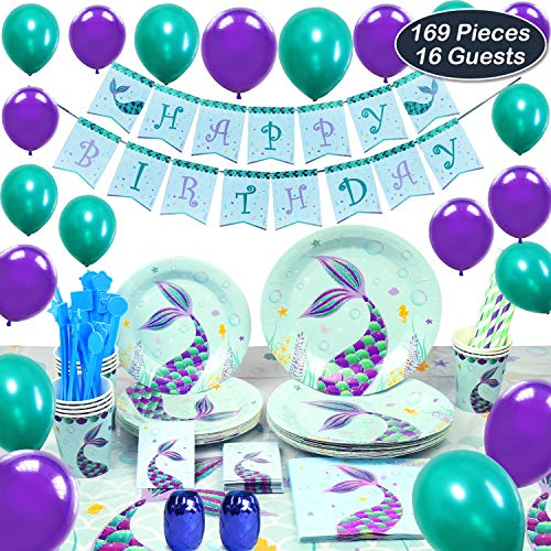 WERNNSAI Mermaid Party Supplies Kit - Party Favors Girls Birthday Party Decoration Cutlery Bag Table Cover Plates Cups Napkins Straws Utensils Birthday Banner & Balloons Serves 16 Guests 169 - Party Supplies Decorations