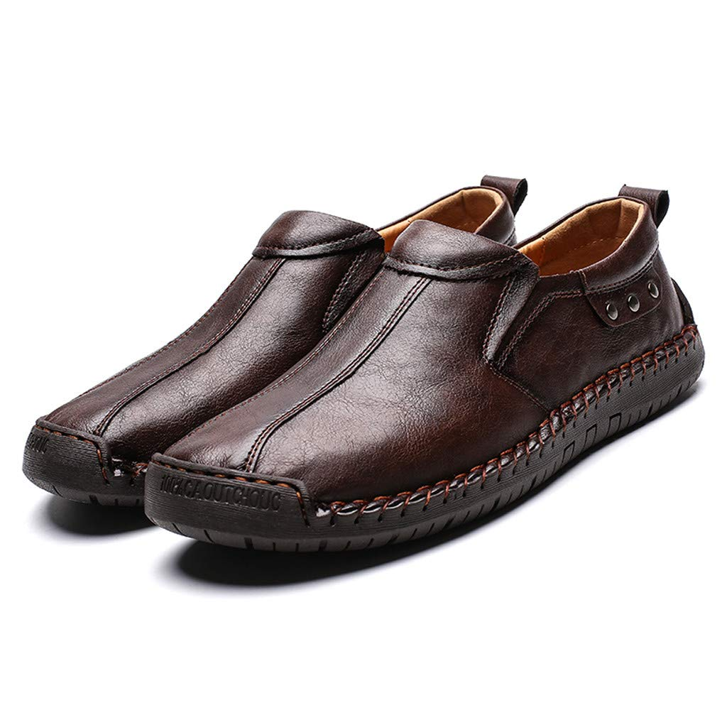 Flats Loafers Slip-on Men's Casual Leather Driving Breathable Walking Boat Shoes (US:9, Brown) by Suoxo Men Shoes