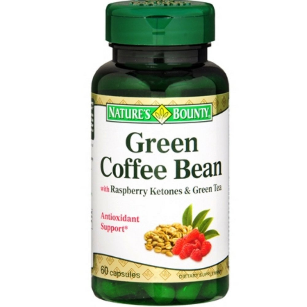 Nature's Bounty Green Coffee Bean with Raspberry Ketones & Green Tea Capsules, 60 Capsules