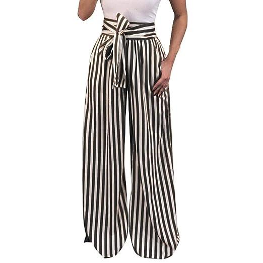 f5629385ac Women Fashion Casual High Waist Striped Wide Leg Pants Elastic Long Palazzo