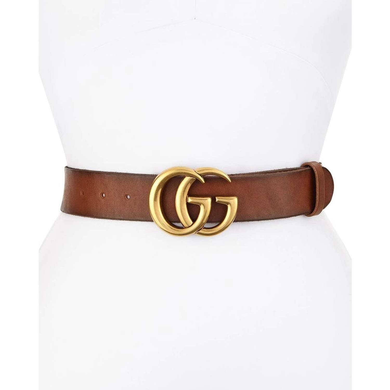 GG G Replica Belt Fake Faux Belts For Women Gold Buckle Brown Leather Dress Womens