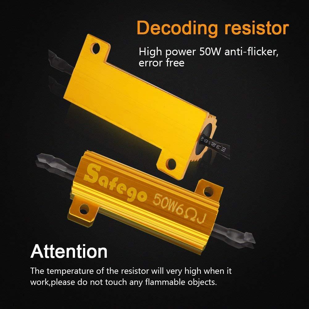 Safego 2 x 50W 6ohm LED Load Resistor for Fix LED Bulb Fast Hyper Flash Turn Signal Blink Error Code