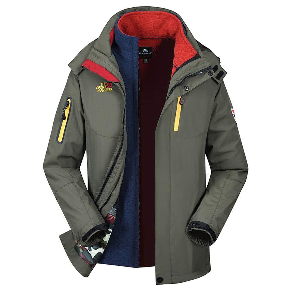 Hattfart Men's Winter Warm Two Piece Outdoor Sports Hooded Windproof Jacket Waterproof Rain Coat (M, Army Green)