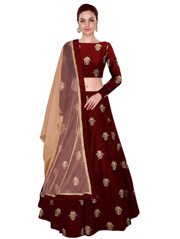 Shree Impex Women's Embroidered Taffeta Silk Semi Stitched Lehenga Choli (Free Size)