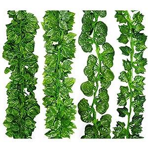 SUMISURER 2M Long Artificial Plants Green Ivy Leaves Artificial Grape Vine Home Wedding Bar Decoration 33