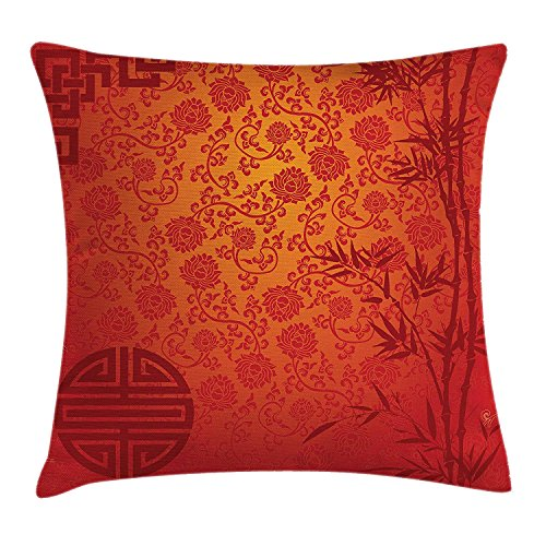 Ashasds Asian Eastern Ethnic Scenery With Branches Traditional Chinese Symbols Print Throw Pillow Covers For Home Indoor Friendly Comfortable Cushion Standard Size 18X18 In