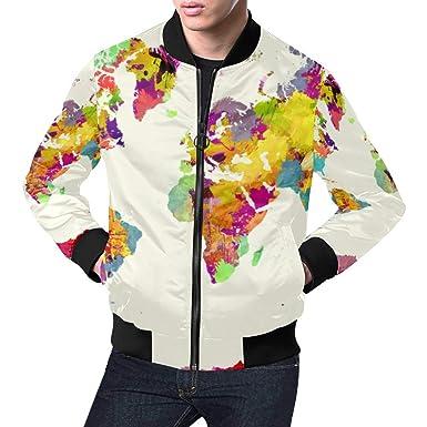 Amazon.com: InterestPrint Men\'s Stand Collar Zip Up Watercolor World ...