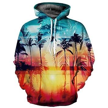 ZQWY Sudaderas con Capucha de Marca para Hombres/Mujeres Sudaderas con Capucha Finas y frías en 3D Imprimir Sunset Seaside Palm Trees Sudaderas con Capucha: ...