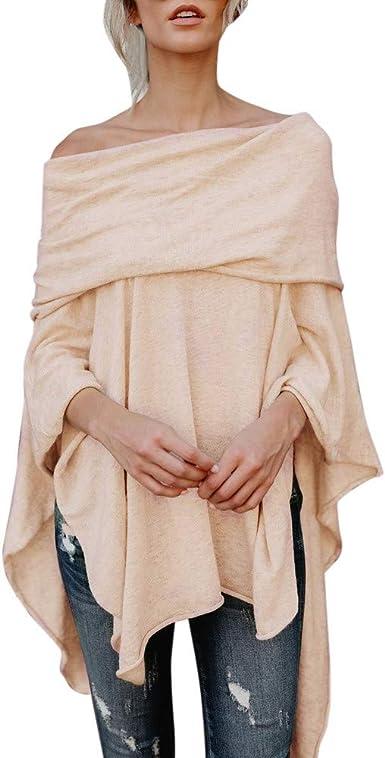 WARMWORD Moda para Mujer Fuera del Hombro Camisa Tops Irregular Casual Tops Blusa Mujer Camiseta Largos de Mangas Largas de Murciélago Pullover Camisa Sueltas Blusas: Amazon.es: Ropa y accesorios