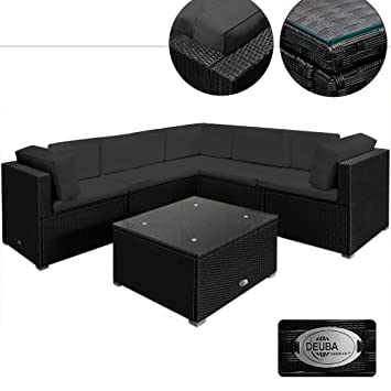 Poly Rattan Garden Furniture Lounge Corner Sofa Set   Black Anthracite  Large 20pcs Polyrattan Outdoor Patio. Poly Rattan Garden Furniture Lounge Corner Sofa Set   Black