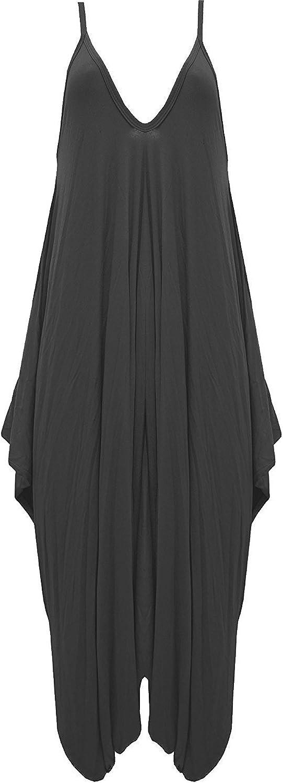 24-26 .Black XXXL - MISS BOHO CHIC New Ladies Cami Lagenlook Romper Loose Harem Jumpsuit Playsuit Dress Plus Size
