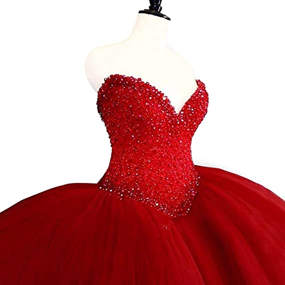 FNKSCRAFT Long Ball Gown Prom Dresses 2017 Puffy Sweetheart Beading Red Quinceanera Dresses